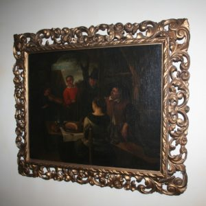 Antique Dutch Tavern Scene Oil Painting (19th Century)