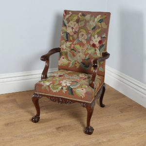 Antique Georgian Chippendale Style Mahogany Gainsborough Armchair (Circa 1890)