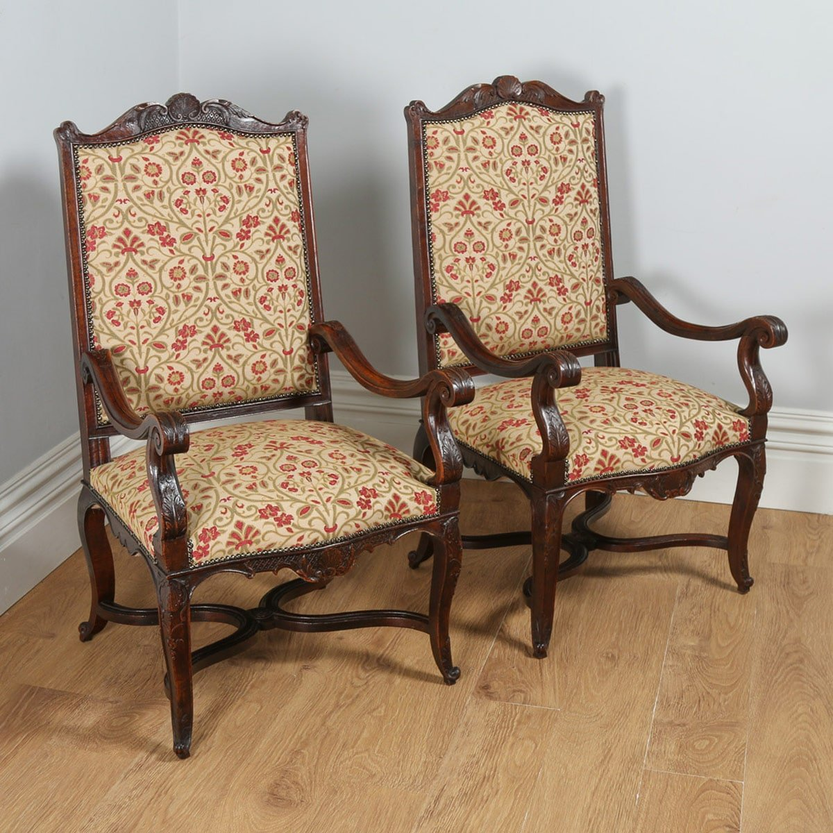 Antique Pair of French Walnut Upholstered Tapestry Fauteuil Armchairs (Circa 1840) - yolagray.com