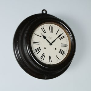 "Large Antique 19"" Mahogany Railway Station / School Round Dial Wall Clock (Chiming / Striker) - yolagray.com"