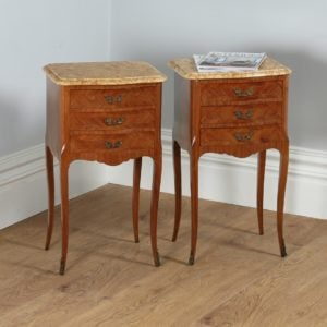 Antique Pair of French Louis XVI Tulipwood & Parquetry Serpentine Bedside Cabinets (Circa 1900) - yolagray.com