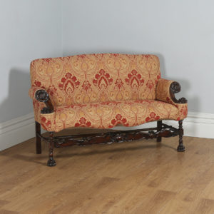 Antique French Normandy Walnut Paisley Upholstered Couch (Circa 1900) - yolagray.com