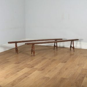 "Antique Pair of 7ft 10"" French Provincial Cherry Wood Kitchen Benches (Circa 1860)- yolagray.com"