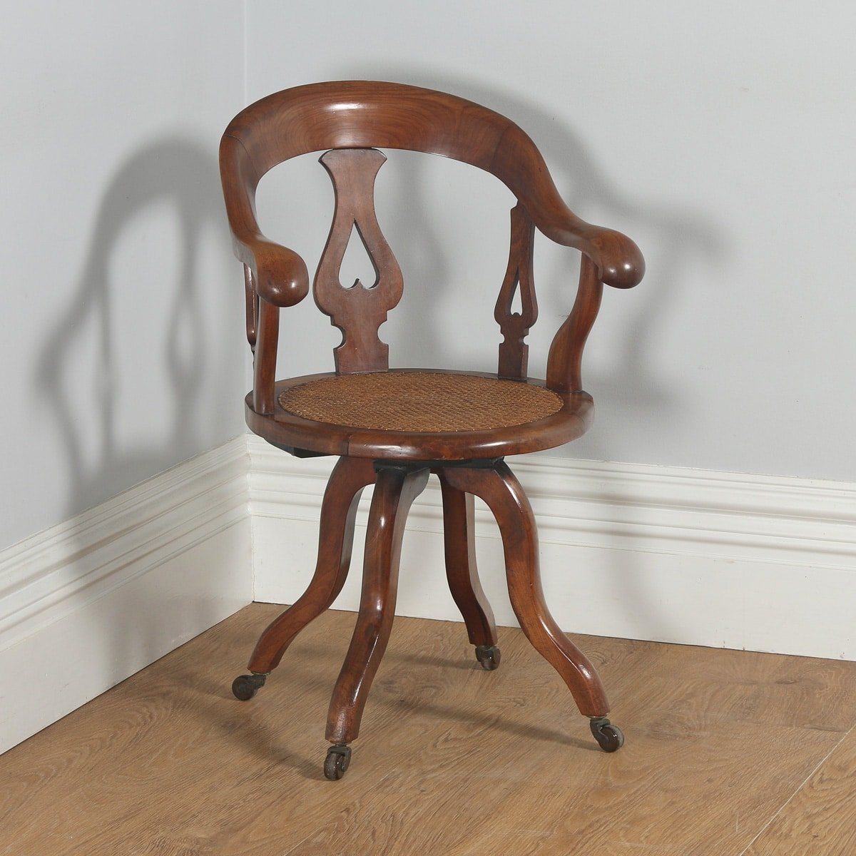 Antique English Victorian Mahogany & Cane Revolving Office Desk Arm Chair (Circa 1860)- yolagray.com