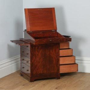 Antique English Georgian Regency Flame Mahogany Davenport Writing Desk (Circa 1820) - yolagray.com