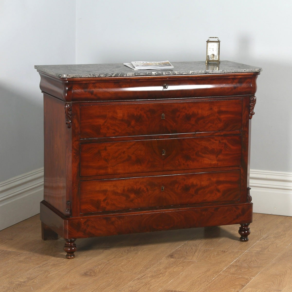 Antique French Louis Philippe Flame Mahogany & Marble Chest of Drawers (Circa 1850) - yolagray.com