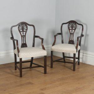 Antique English Pair of Georgian Hepplewhite Style Mahogany Armchairs (Circa 1910) - yolagray.com