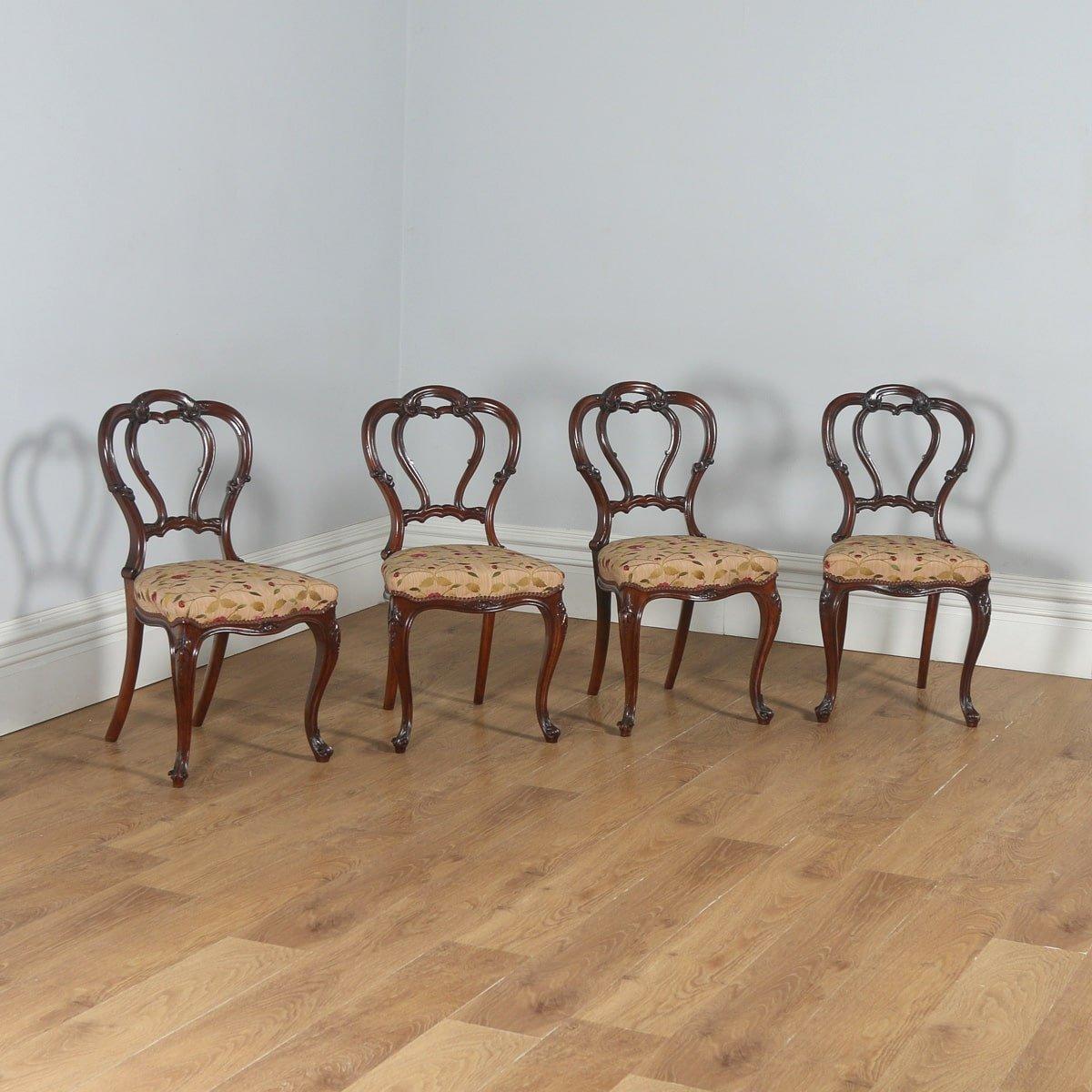 Antique English Victorian Set of Four Walnut Dining Chairs (Circa 1860) - yolagray.com
