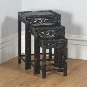 Antique Chinese Oriental Qing Dynasty Set of Three Carved Hardwood Nest of Tables (Circa 1900) - yolagray.com