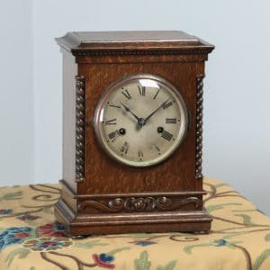 "Antique 11½"" German Gustav Becker Oak Round Dial Mantel Clock (Chiming / Striker) - yolagray.com"