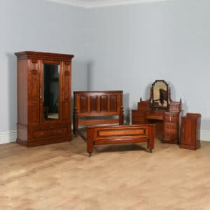 Antique English Victorian Gothic Pitch Pine & Ebony Bedroom Suite Including Bed, Dressing Table, Bedside & Wardrobe (Circa 1890) - yolagray.com