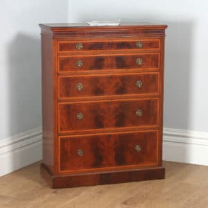Antique English Georgian Sheraton Style Flame Mahogany & Satinwood Inlaid Chest of Drawers (Circa 1900) - yolagray.com