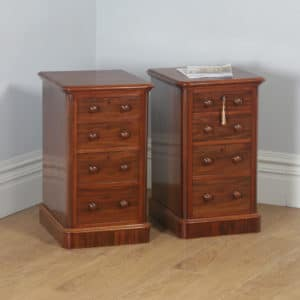 Antique Pair of English Victorian Mahogany Bedside Chests (Circa 1860) - yolagray.com