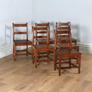 Antique English Set of Six Georgian Regency Provincial Cottage Oak & Elm Kitchen Dining Chairs (Circa 1830) - yolagray.com