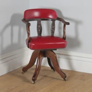 Antique English Victorian Oak & Crimson Red Leather Revolving Office Desk Arm Chair (Circa 1890) - yolagray.com