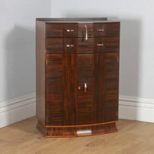 Antique English Art Deco Coromandel & Walnut Two Door Tallboy Compactum Chest of Drawers (Circa 1930) - yolagray.com