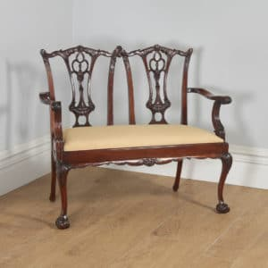 Reproduction Chippendale Style Carved Mahogany Couch Sofa Settee (Circa 1970) - yolagray.com