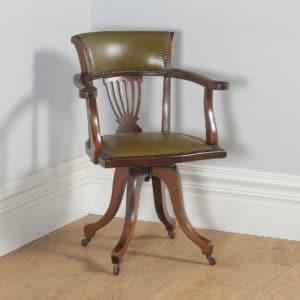 Antique English Victorian Beech & Green Leather Revolving Office Desk Arm Chair (Circa 1900) - yolagray.com