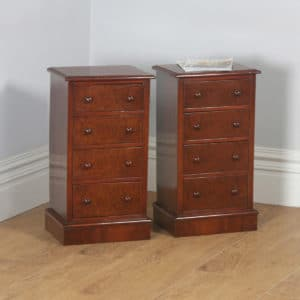 Antique Pair of English Edwardian Burr Walnut Bedside Chests Pot Cupboards Night Stands Cabinets (Circa 1910)- yolagray.com