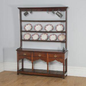 Antique English Georgian Oak Low Side Board Dresser Base & Rack with Potboard (Circa 1780) - yolagray.com