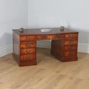 "Vintage English Georgian Style Flame Mahogany & Brown Leather 5ft 1⅝"" Pedestal Office Desk (Circa 1980) - yolagray.com"