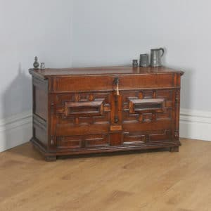 Antique English Charles II Oak Marriage Mule Chest / Blanket Box With Drawer (Circa 1680) - yolagray.com