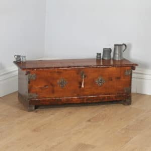 Antique Spanish Pitch Pine Boarded Sword Chest Coffer / Trunk (Circa 1800)- yolagray.com