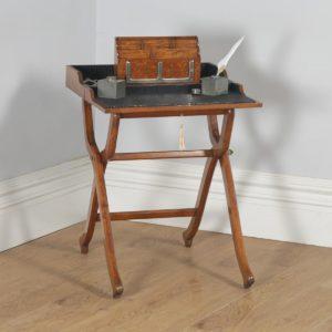 Antique English Victorian Oak Folding Campaign Writing Compendium Desk Table (Circa 1890) - yolagray.com