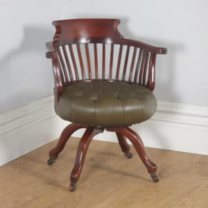 Antique English Victorian Mahogany & Green Leather Revolving Office Desk Arm Chair (Circa 1880) - yolagray.com