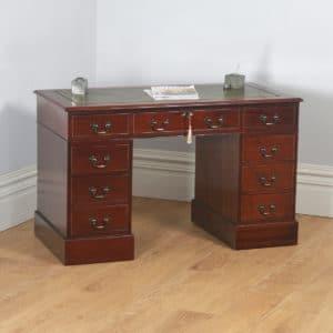Vintage Georgian Style Mahogany & Green Leather 4ft Office Desk (Circa 1980)- yolagray.com