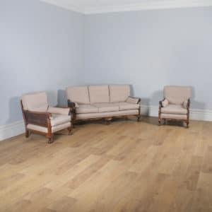 Antique English Edwardian Oriental Chinoiserie Style Three Piece Mahogany & Cane Bergere Lounge Suite (Circa 1900) - yolagray.com