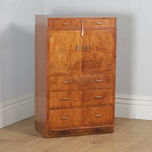 Antique English Art Deco Burr Walnut Two Door Tallboy Compactum Chest of Drawers (Circa 1930)- yolagray.com