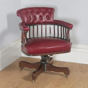 Antique English Edwardian Mahogany & Red Leather Revolving Office Desk Arm Chair (Circa 1900)- yolagray.com