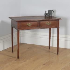 Antique English Georgian Oak Occasional Hall Writing Lowboy Side Table (Circa 1800) - yolagray.com
