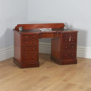 "Antique Victorian Mahogany & Green Leather 4ft 6"" Breakfront Knee Hole Office Pedestal Writing Desk (Circa 1870) - yolagray.com"