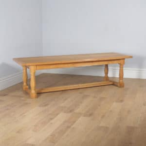 "Vintage Welsh 8ft 10"" Solid Oak Farmhouse Kitchen Refectory Dining Table (Circa 1980) - yolagray.com"