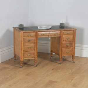 Antique English Victorian Ash & Green Leather 4ft Office Pedestal Desk (Circa 1890)- yolagray.com