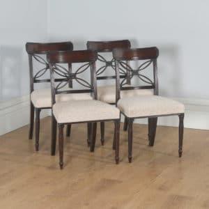 Antique English Set of Four Georgian Regency Mahogany Bar Back Dining Side Chairs (Circa 1820) - yolagray.com