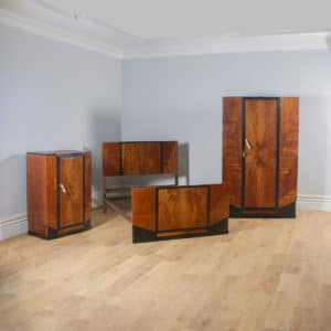 Antique English Art Deco Figured Walnut Three Piece Bedroom Suite – Bed Wardrobe Chest of Drawers (Circa 1930) - yolagray.com