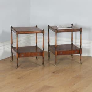 Pair of English Georgian Regency Style Mahogany Whatnot Bedside Tables Nightstands (Circa 1970) - yolagray.com