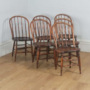 Antique Set of Six English Edwardian Ash & Elm Liberty Stick Hoop Back Windsor Kitchen Dining Chairs (Circa 1900) - yolagray.com
