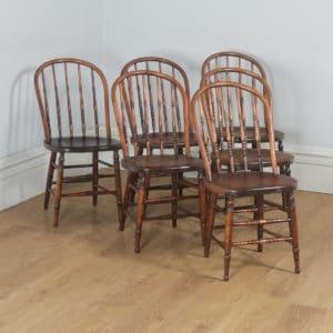 Antique Set of Six English Edwardian Ash & Elm Liberty Stick Hoop Back Windsor Kitchen Dining Chairs (Circa 1900) - yolagray.com