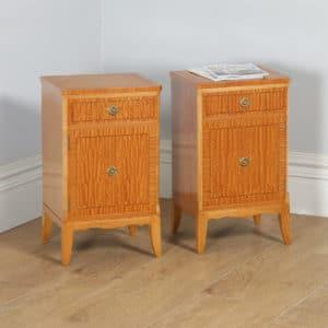 Pair of Georgian Regency Neoclassical Style Satinwood & Ebony Bedside Cabinet Tables Nightstands (Circa 1970) - yolagray.com