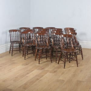 Antique English Set of Sixteen 16 Victorian Ash & Elm Windsor Spindle Bar Back Kitchen Dining Chairs (Circa 1880) - yolagray.com