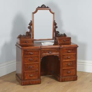 Antique English Victorian Burr Walnut Pedestal Dressing Table with Mirror (Circa 1880) - yolagray.com